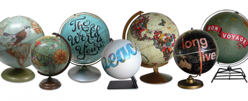 Oh the places you will go: hand painted globes by Wendy Gold