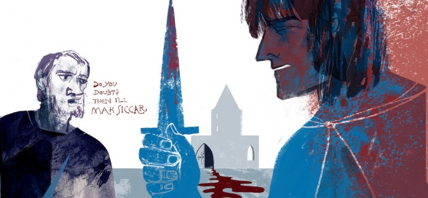 Colour DPS illustration showing a bloody Robert Bruce in the foreground, holding a dagger. He has just argued with Comyn in GreyFriars Church and stabbed him. Bruce rushes out of the church, not sure if he has killed him or not. His Friend Roger Kirkpatrick, asks the famous question - Do You Doubt? Then I'll Mak Siccar