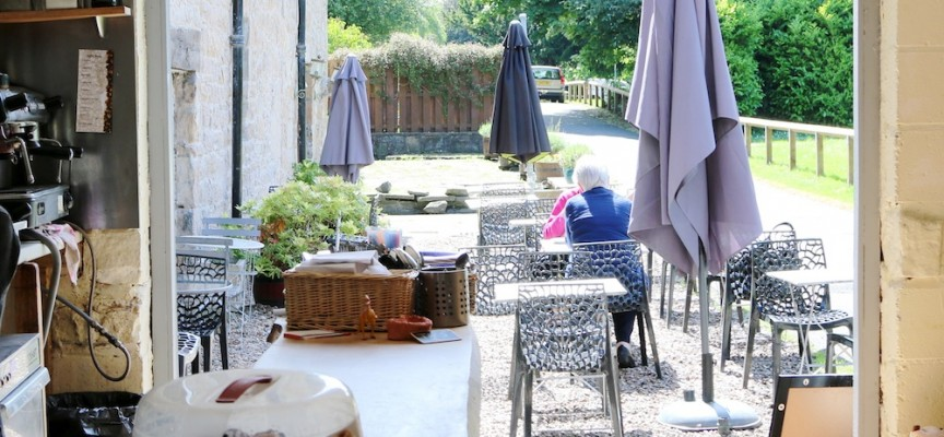 Dog friendly cafe with outdoor seating and nice views near Edinburgh and near Fife