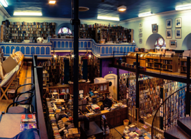 Curl up by the fire at Leakey's bookshop in Inverness