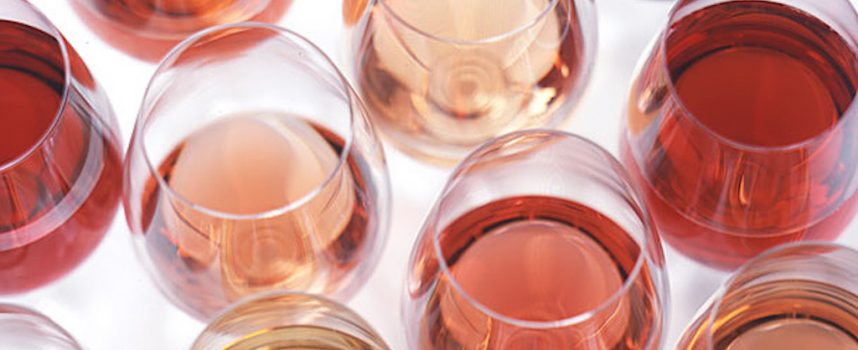 Rosé tinted wine glasses by Paul Rudge, Reubens Winestore, Dunfermline
